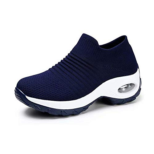 Zapatos Deporte Mujer Zapatillas Deportivas Correr Gimnasio Casual Zapatos para Caminar Mesh Running Transpirable Aumentar Más Altos Sneakers Negro Gris Morado Rojo Blanco 35-44 Azul 39
