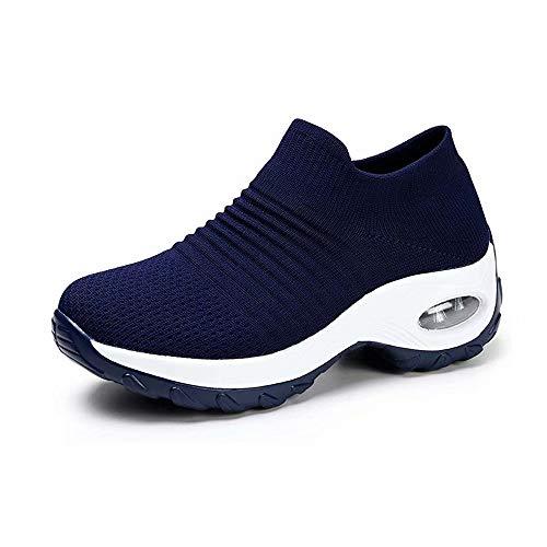 Zapatos Deporte Mujer Zapatillas Deportivas Correr Gimnasio Casual Zapatos para Caminar Mesh Running Transpirable Aumentar Más Altos Sneakers Negro Gris Morado Rojo Blanco 35-44 Azul 35