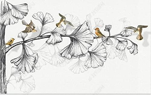 Papel Pintado Fuerte Decoir Plateado Blanco Y Negro Hojas 3D Bird TV Fondo Mural De La Pared-350 * 245Cm