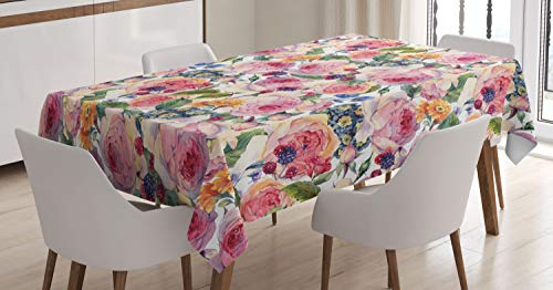 ABAKUHAUS En Mal Estado de Flora Mantele, En Mal Estado Rosa Floral de la Planta, Estampado con la Última Tecnología Lavable Colores Firmes, 140 x 200 cm, Multicolor