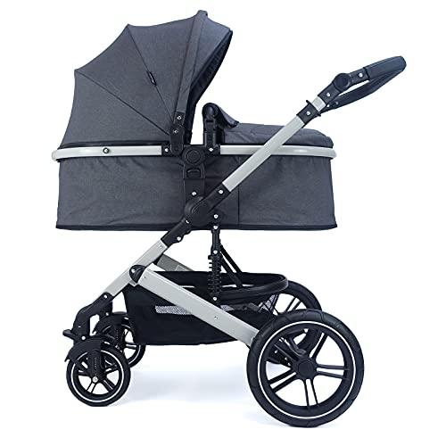 Pixini Cochecito de bebé Neyla con bañera de tela, asiento, bolso cambiador, funda para tazas, protector de lluvia, mosquitera, cambiador en color gris y antracita