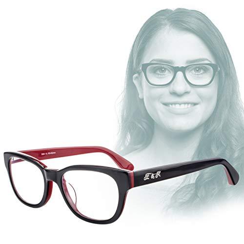 Edison & King Lesebrille Endless – Moderne Kunststoffbrille entspiegelt – gehärtet – aus Acetat (Schwarz-Rot, 3,00 dpt)