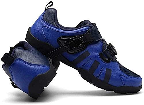 KUXUAN Zapatillas Ciclismo Hombre MTB No Lock,Ciclismo de Montaña Calzado MTB Calzado de Carretera Calzado Resistente, Ligero y de Fondo Duro para Mujer,Blue-46 EU