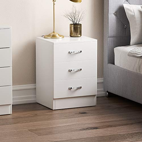 Vida Designs White Bedside Cabinet Chest of Drawers, 3 Drawer With Metal Handles & Runners, Unique Anti-Bowing Drawer Support, Riano Bedroom Furniture