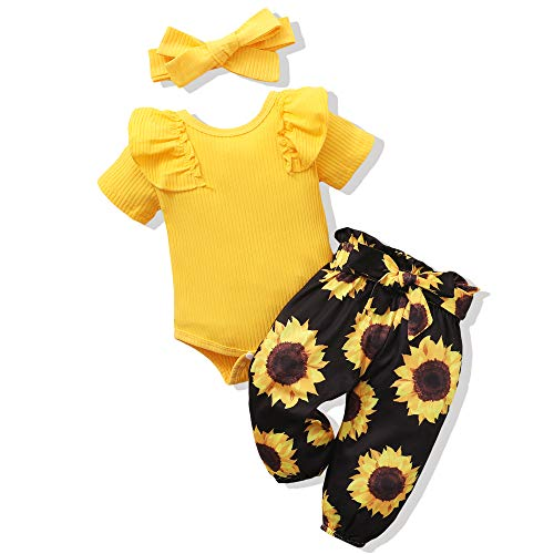 Renotemy Newborn Girl Clothes Outfits Ruffle Short Sleeve Tops + Floral Pants Sets Spring Fall Summer Baby Girl Clothes 3-6 Months