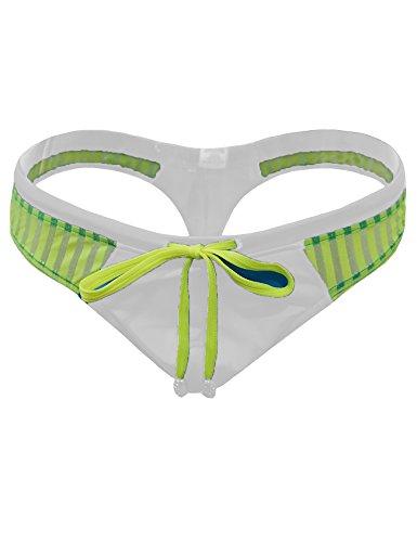 Legou Herren Mesh Schwimm-Slip Badehose Badeshorts Sportlicher Bikini-Slip Sport-Slip Weiß XL