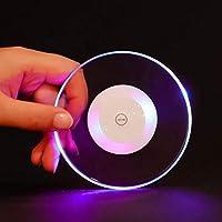 ZJN-JN アクリルクリスタル超薄型LEDライトコースターカクテルコースターフラッシュバーバーテンダー照明ベースランププラセマットダイニングテーブル (Color : 02, Size : L)