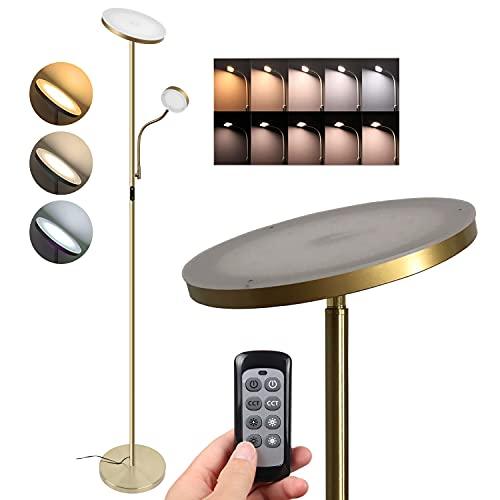 2 LEDs Floor Lamp,dimmable, Mother /Main uplight 20W 1800 lumens,Child/Side Reading lamp 4W 280 lumens, Color Temperature Control, Metal,Gold, Tall Standing Modern Pole Light for Living Rooms