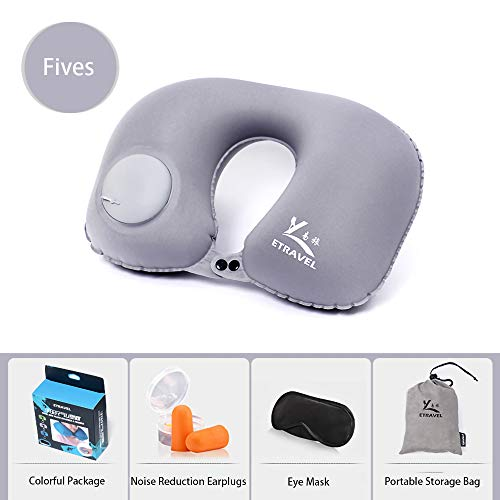 AINAAN Inflatable Pillow Neck Airplane or Car Travel Goods Small U Shape Headrest Cushion for Best Rest & Portable Bag, 2019, Gray