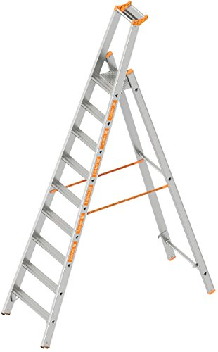 Layher 1064009 Stufenstehleiter einseitig begehbar TOPIC mit 9 breiten Stufen Aluminiumleiter klappbar mit Podest, Länge 2.95 m