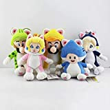 LINGJIA Super Mario Toy 5pcs/Set Plush Toy Toad Princess Peach Rosalina Cosplay Cat Animals Soft Stuffed Dolls