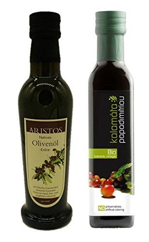 Bio Balsamico Essig + kaltgepresstes extra natives Olivenöl | Salatdressing | griechisches Olivenöl | griechischer Essig | je 250 ml | by ARISTOS (Bio Essig + Öl)
