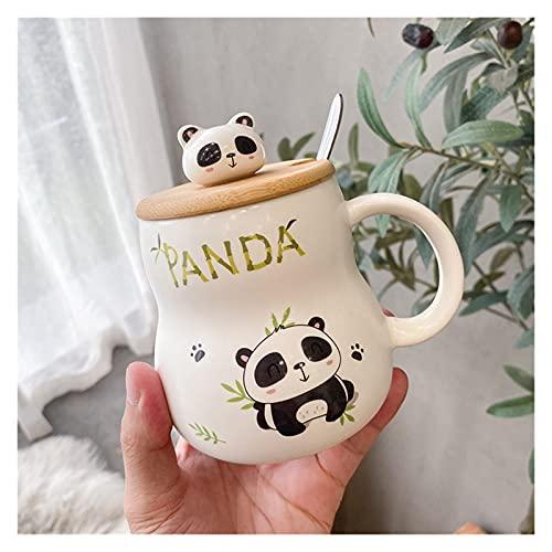 Estilo coreano creativo de dibujos animados simple Panda taza linda taza personalizada con tapa cuchara Home Breakfast Milk Cola Cup Tea Glass Cup (Color: 1)