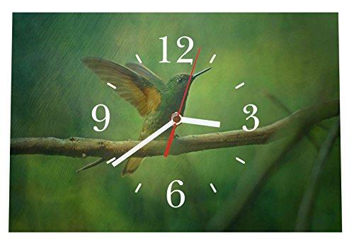 LAUTLOSE Designer Tischuhr Kolibri grün Standuhr modern Dekoschild Bild 30 x 20cm