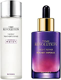 Missha Time Revolution The First Treatment Essence Intensive Moist and Time Revolution Night Repair Science Activator Ampoule Gold Bundle - Amazon Code verified for Authenticity