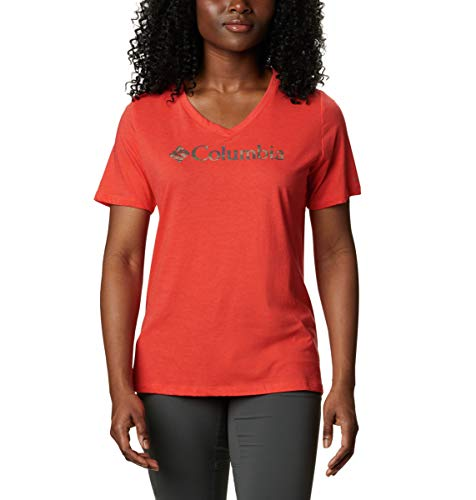 Columbia Women's Mount Rose Relaxed Tee Shirt, Jersey Cotton Blend, Bright Poppy Heather/Print, X-Large