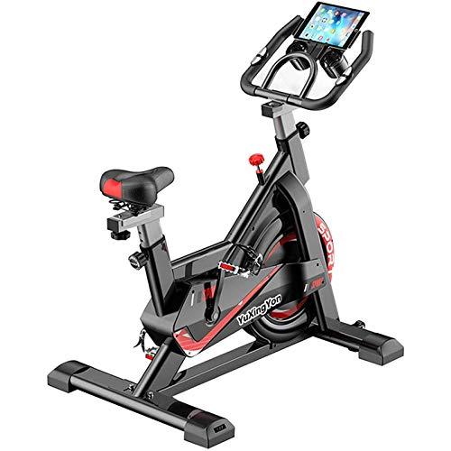 YQTXDS Bicicleta estática Profesional para Interiores, con Soporte para Tableta, Volante Cromado, Sistema de transmisión por Correa Ultra silencioso (Entrenador de Bicicletas)