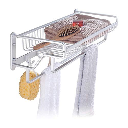 Rieles de toallas, Toalla Rack Espacio de aluminio Baño de aluminio Cuarto de baño Montado en pared Perchas Libre Punzonado Instalación Poste Doble Poste Postería, Cesta y gancho de almacenamiento de