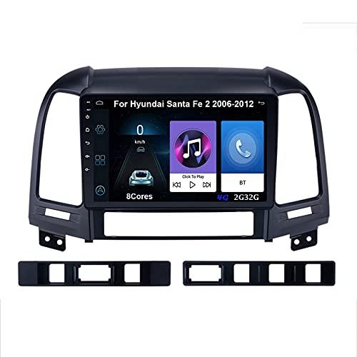 Autoradio GPS Navigazione Music 9 Pollici HD Touch Multimedia Per Hyundai Santa Fe 2 2006-2012 Collega E Usa Support Controllo Del Volante Chiamate in Vivavoce Telecamera Posteriore