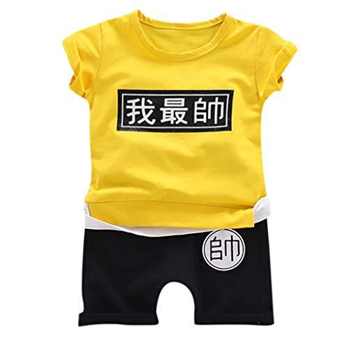 """Juego de ropa para niños de 0 a 4 años, diseño con texto en inglés """"I am the most handsome Cartoon Outfits"""", camiseta y pantalones cortos Amarillo amarillo 2-3 Años"""