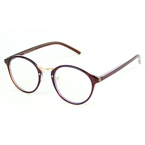 Cyxus Computer Blue Light Filter Vintage Retro Glasses, Anti Eye Strain Eyewear UV Headaches Lightweight Frame Eyeglasses TR90 (8065T29,Tea Brown)