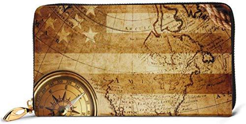 Damen-Portemonnaie mit USA-Flagge, Weltkarten, Vintage-Stil, RFID-blockierender Reißverschluss, Echtleder, Clutch, Kartenhalter, Reisegeldbörse