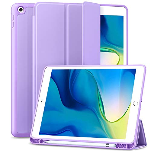 Maledan Case for iPad 8th Generation/iPad 10.2 Case 2020, Smart Folio Soft TPU Protective Case Cover with Apple Pencil Holder for iPad 8th/7th Gen, Auto Sleep/Wake, Full Body Protection - Lavender