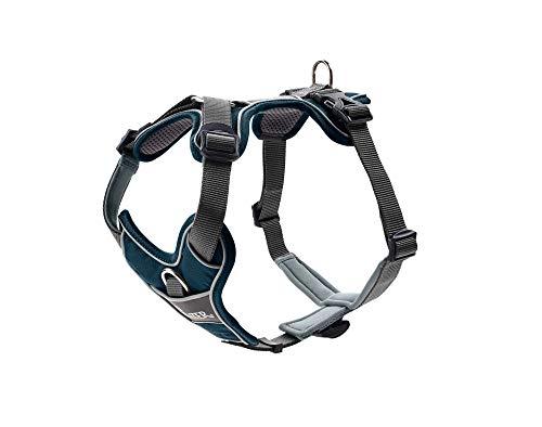 HUNTER DIVO Hundegeschirr, Nylon, gepolstert mit Mesh-Material und Neopren, ergonomisch, reflektierend, M, dunkelblau/grau