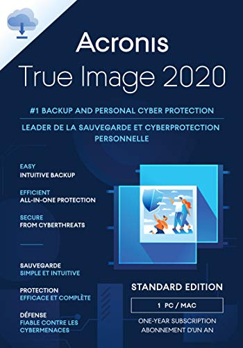 Acronis True Image 2020 | 1 PC/Mac | Cyber Protection-Lösung für Privatanwender| Integriertes Backup | Ransomware-Abwehr | iOS/Android | Unbegrenzte Laufzeit | Aktivierungscode per Email