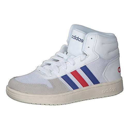 adidas Hoops Mid 2.0, Sneaker Unisex-Child, Footwear White/Collegiate Royal/Scarlet, 35.5 EU