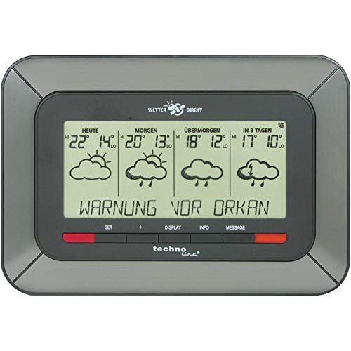 Technoline, WetterDirekt Wetterstation WD 4920 mit Innen-/ Außentemperaturanzeige, Wettervorhersage für 4 Tage und Unwetterwarnung
