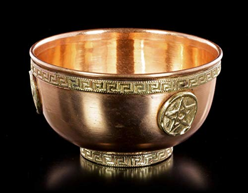 /Ø 14,5 CM Zeremonielle Coupe D/écorative Triple Lune Grand Kupfer-Schale R/äucher-schale Figuren shop gmbh Rituel Coquille en Cuivre