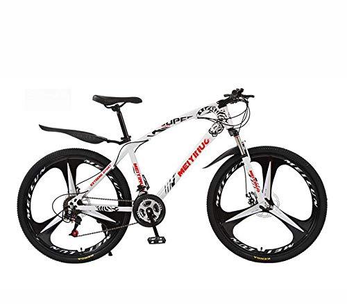 GASLIKE Mountain Bike Bicicletta per Adulti, Telaio in Acciaio ad Alto tenore di Carbonio, Mountain Bike per Tutti i Terreni Hardtail,Bianca,26 inch 21 Speed