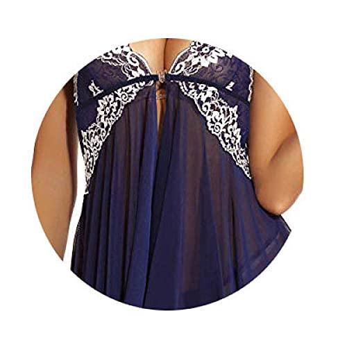 Mini Vestido con Cuello Halter,Blusa Sexual del Cuello en V, Hebilla Delantera de Pijamas-Azul Tibetano_S,Interior Body de Cuello Halter