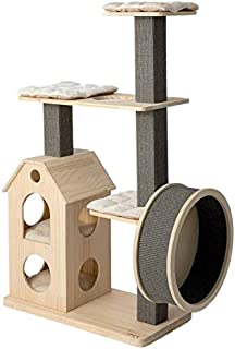 HONEYPOT CAT by CHOKYO Solid Natural Wood Cat Tree Cat Tower Build with Extra Large Castle, Gym Wheel, Sisal Scratching Po...