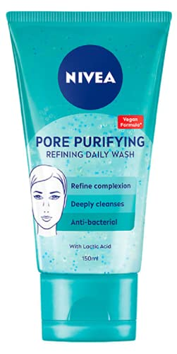 NIVEA PURIFY PORES Daily Wash Scrub (150 ml), Purifying Face Scrub, Facial Scrub Prevents Blackheads, Exfoliating Scrub with Natural Magnolia Extract and Lactic Acid
