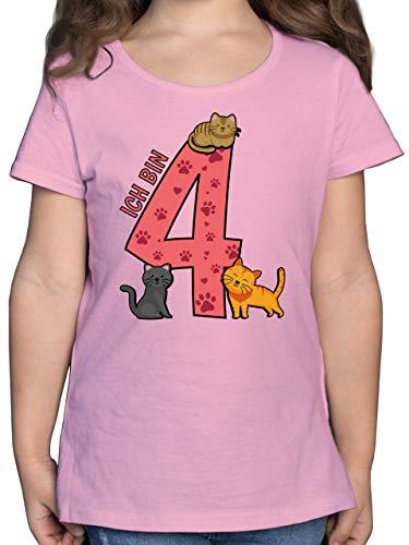 Kindergeburtstag Geschenk - 4. Geburtstag Katzen - 104 (3/4 Jahre) - Rosa - Tshirt 4 Geburtstag mädchen - F131K - Mädchen Kinder T-Shirt