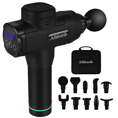 Handheld Massage Gun Deep Tissue Percussion Muscle Massager, Portable Electric Body Massager Sports Drill with 10 Heads, Neck Back Fascia Gun Quiet Brushless Motor for Athletes, Gym, Office, Home