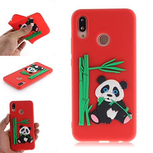 JCKHM Hülle kompatibel mit Huawei P20 lite Hülle Silikon,Panda isst Bambus-TPU-Schale Hülle Silikon Liquid Silikon Ultra dünn Komplettschutz Schutzhülle,Anti-fall Etui Weich stoßfest,Rot,EINWEG packet