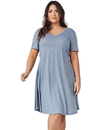 Romwe Women's Summer Short Sleeve Loose Tunic Casual T-Shirt Dress