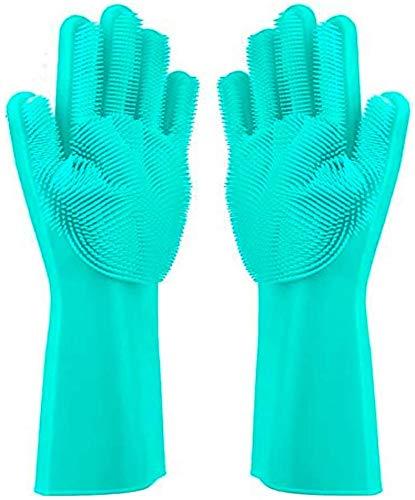 Geschirrhandschuhe, Reinigen Silikon-Spülhandschuhe, Silikon Handschuhe, Magische Handschuhe, Gummi-Handschuh für die Haushalt, Hitzebeständige Handschuhe für Küche, Bad, Auto ( grün, 1 Paar, groß )