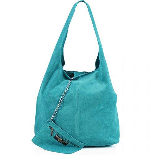 AMBRA Moda Damen Ledertasche Shopper Wildleder Handtasche Schultertasche Beuteltasche WL818 (Türkis)