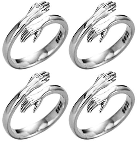 Baidi Give Me A Hug Ring, Anillo de Abrazo de Plata de Ley 925, Anillo de Abrazo...