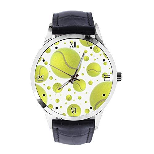 Lustige grüne Tennis Court Custom Armbanduhr Unisex Analog Quarz Uhr mit Lederband Uhren für Mädchen Jungen Armbanduhr