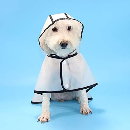 Impermeabile trasparente per animali con cappuccio Impermeabile super leggero e regolabile Impermeabile per cani con telaio nero, adatto per cani di piccola e media taglia S