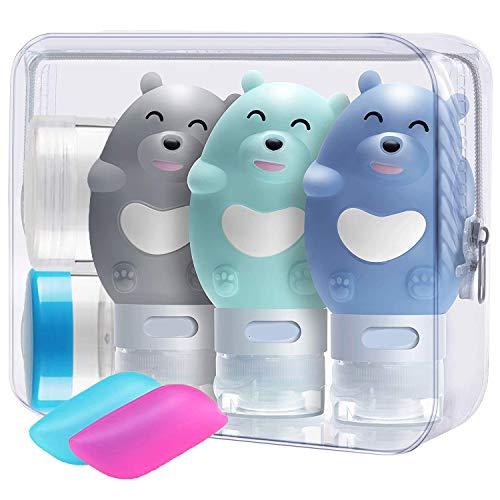 3 Stück Bär Silikon Reise Flaschen Set - BPA-frei und TSA-Airline Genehmige Karikatur Reiseflasche - Reisebehälter mit Etikett für Shampoo/Duschgel/Kosmetik Flüssigkeit (2.8oz/80 ml)