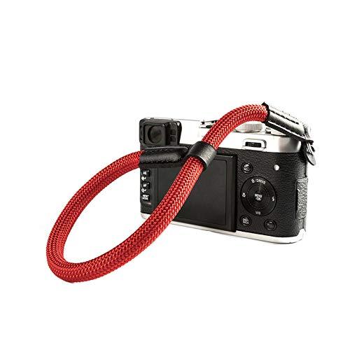 LXH Nylon fotocamera cinturino da polso cinturino regolabile per Sony NEX Leica Canon Nikon Panasonic Fujifilm Olympus Pentax fotocamere compatte mirrorless (rosso)