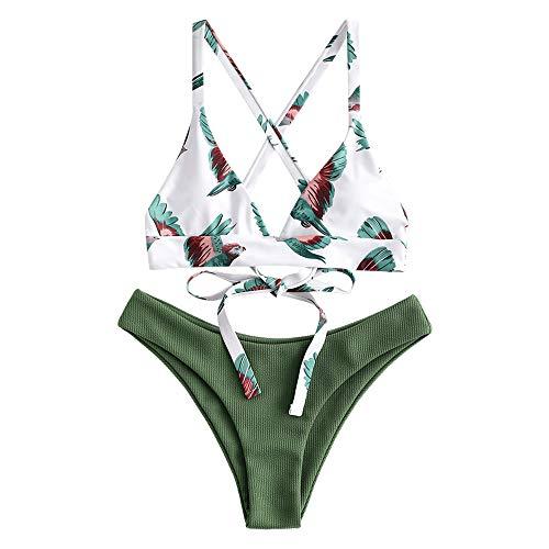 ZAFUL zweiteilig Bikini-Set mit verstellbarem BH & Rückengurt Design, Triangle Badehose mit Vögel-Gedruckt (Grün, M)
