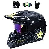 Yilingqi-1 Juveniles Casco de Descenso Regalos Gafas máscara Guantes de Bolsillo de Red BMX MTB ATV Carrera de Bicicleta de Toda la Cara Casco Integral,B,XL