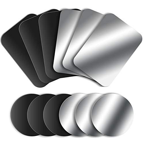 MOSUO 12 Piezas Láminas Metálicas (6 Redondas y 6 Rectangulares) Placas Metálicas con 3M Adhesivo para Soporte Movil Coche Magnético/Iman Movil Coche y Otros Productos de imán, Negro+Plata